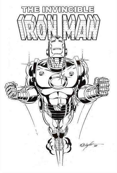 Iron Man Flying Drawings on The Final Drawing